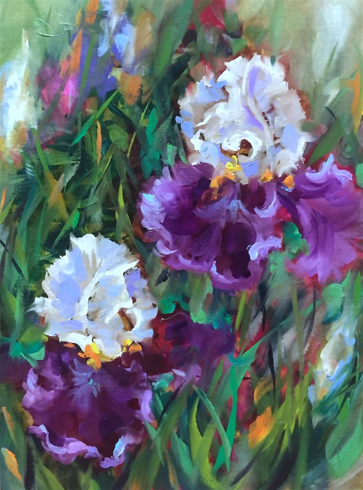 """Painting Live - It Takes Two - Purple Iris Garden"" original fine art by Nancy Medina"