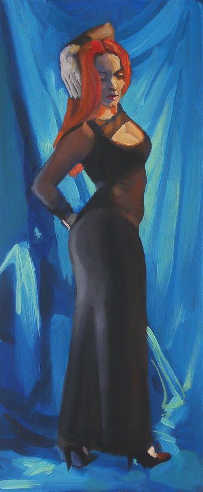 """Black dress"" original fine art by Peter Orrock"