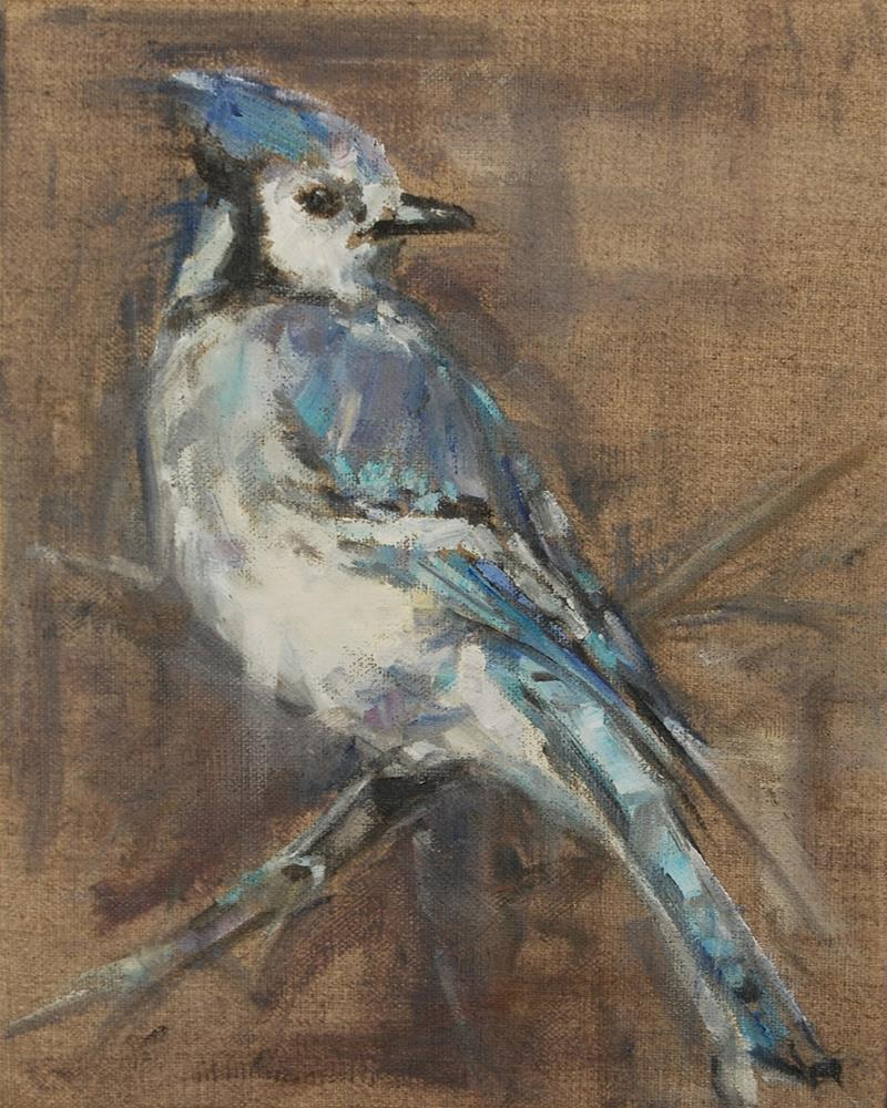 """Blue Jay, Bird, Original oil by Carol DeMumbrum"" original fine art by Carol DeMumbrum"