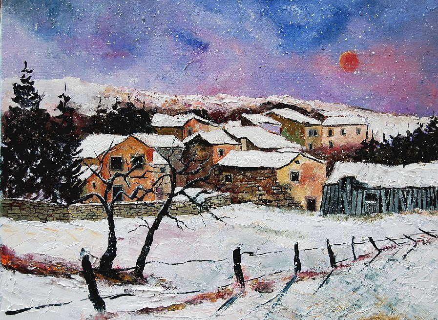 """snow in ardennes"" original fine art by Pol Ledent"