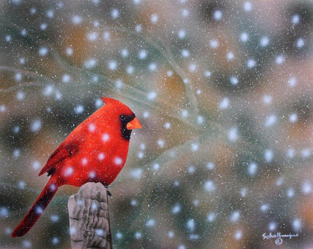 """Cardinal In Heavy Snow"" original fine art by Fred Schollmeyer"