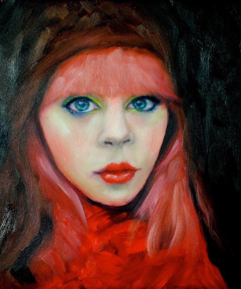 """Her Red Scarf"" original fine art by Kelly Berkey"