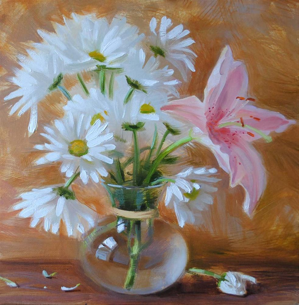 """Lily and Daisies"" original fine art by Elena Katsyura"