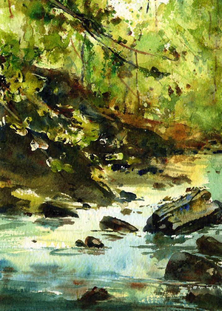 """Leaves of Green"" original fine art by Linda Henry"