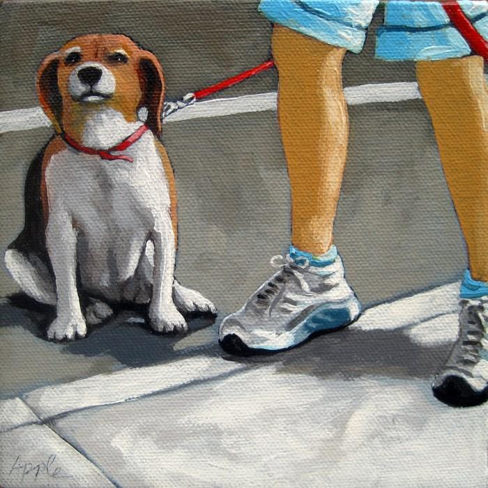 """Beagle dog figurative oil painting"" original fine art by Linda Apple"