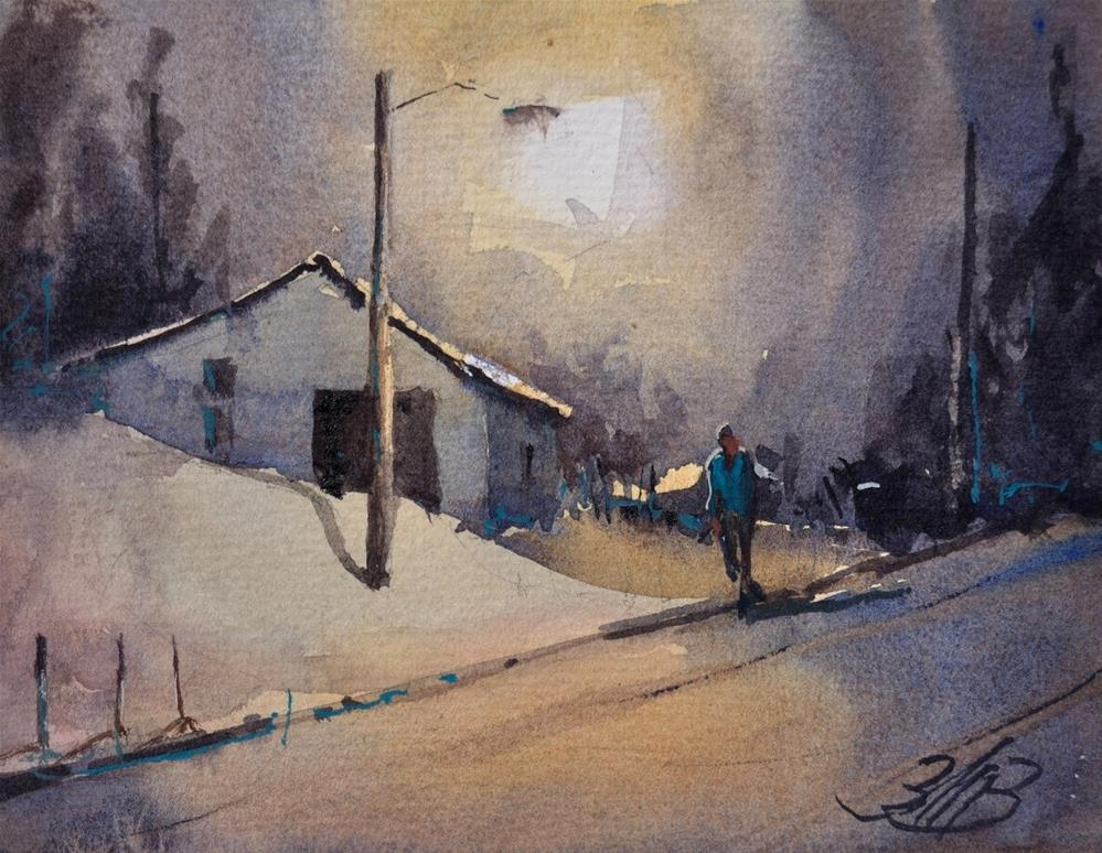 """Nightly Stroll"" original fine art by Brienne M Brown"
