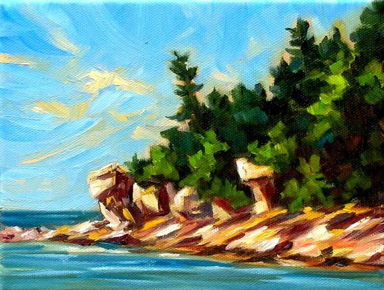 """Rocky Shores of Georgian Bay"" original fine art by Irina Beskina"