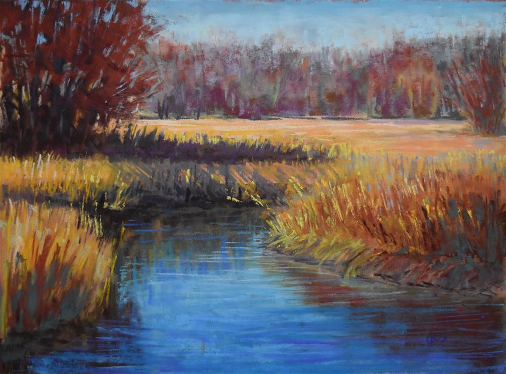 """Brook in fall"" original fine art by Alejandra Gos"