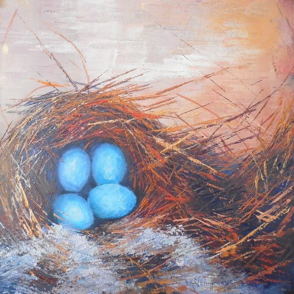 """Daily Painting, Small OIl Painting, Nest Painting, Nesting by Carol Schiff, 12x12x1.5 Oil"" original fine art by Carol Schiff"
