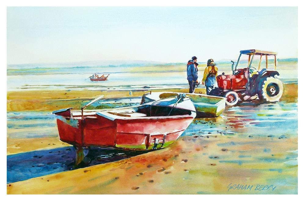 """Men, boats and tractor."" original fine art by Graham Berry"