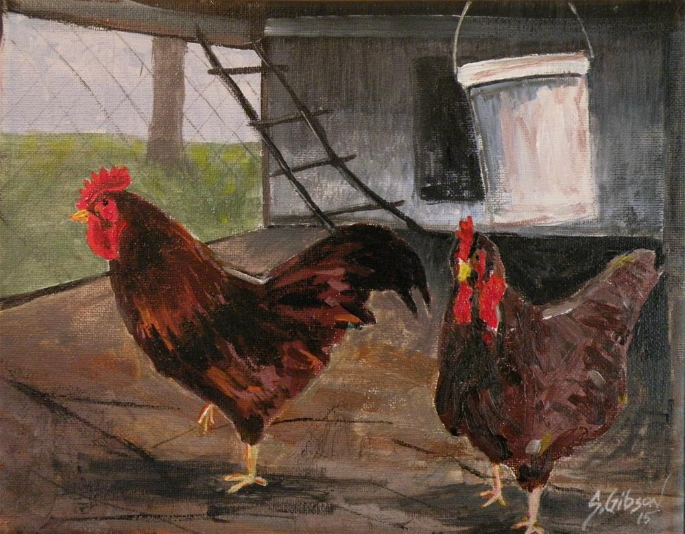 """Roosters in a hen house"" original fine art by Steve Gibson"