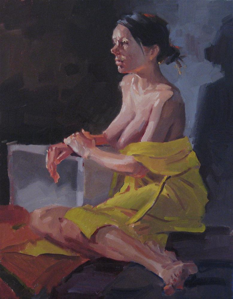 """The Yellow Robe no. 2 nude female figure painting figurative art portrait"" original fine art by Sarah Sedwick"