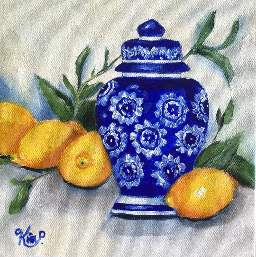 """Ginger Jar and Lemons"" original fine art by Kim Peterson"