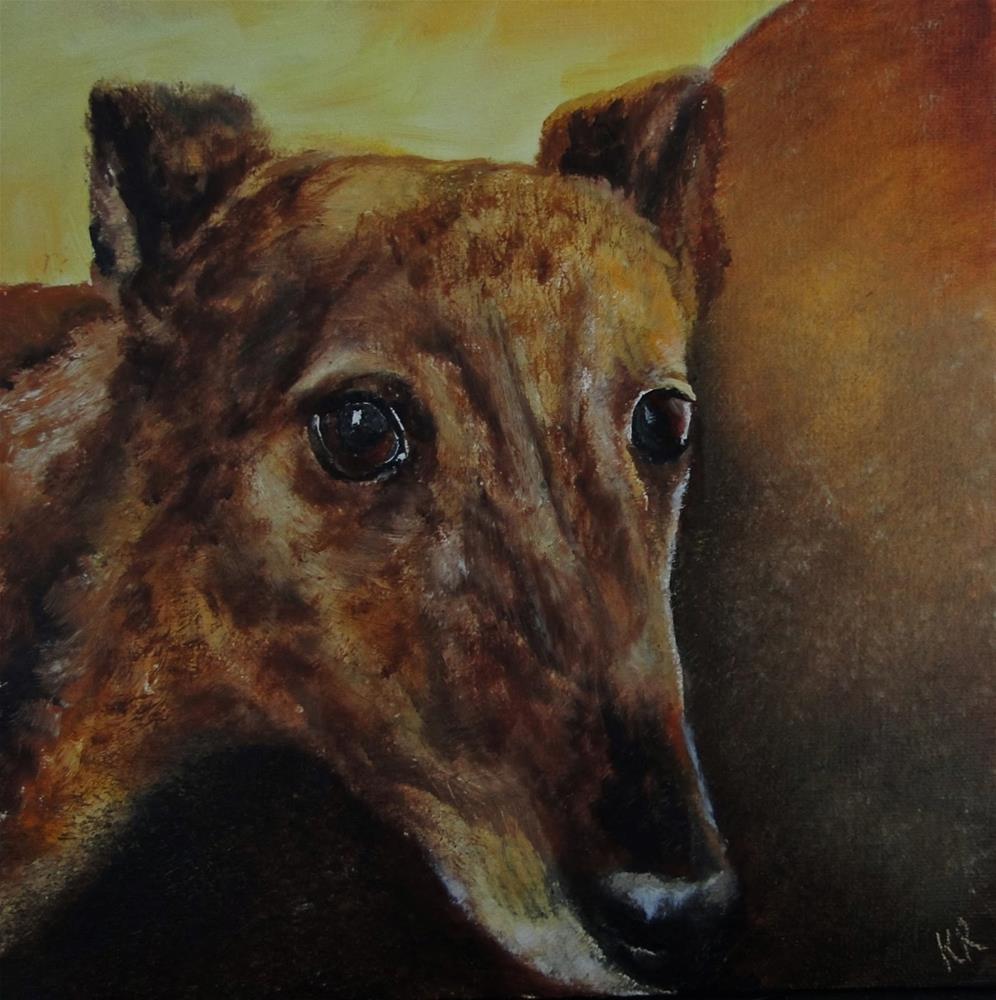 """""""Greyhound 3"""" original fine art by Karen Robinson"""