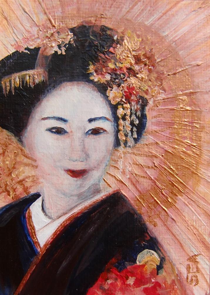 """""""3020 - GEISHA - ACEO Geisha Series"""" original fine art by Sea Dean"""