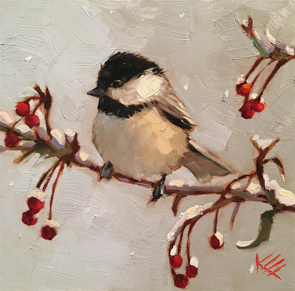 """Sweet Snow Bird"" original fine art by Krista Eaton"