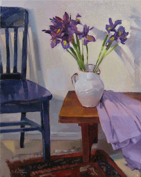 """Irises on a Low Table"" still life floral interior scene fine art oil painting daily original fine art by Sarah Sedwick"