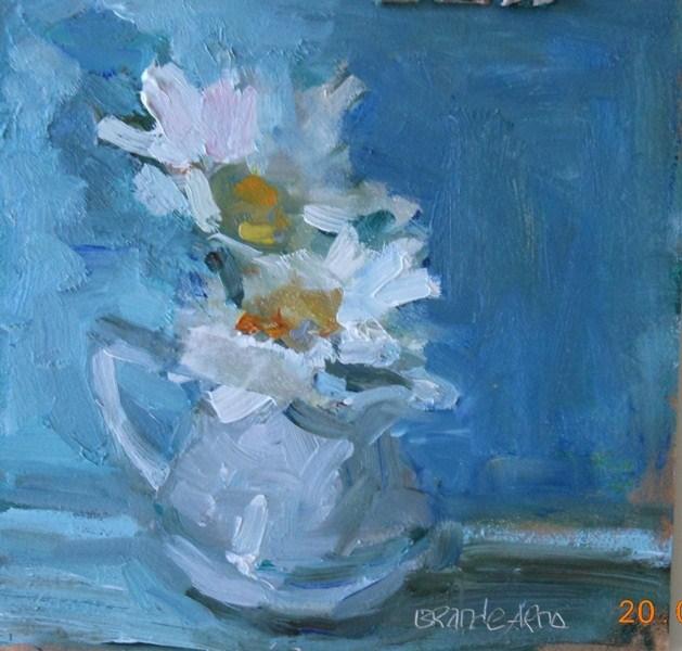 """Daisy & Creamer"" original fine art by Brande Arno"