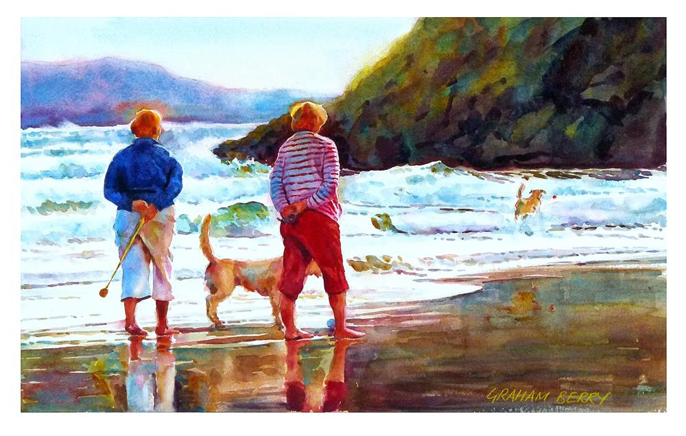"""Walking their dogs."" original fine art by Graham Berry"