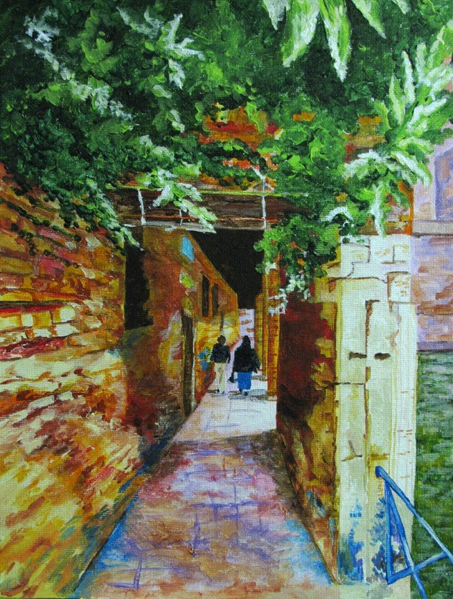 """Brick Walkway along the Canal"" original fine art by Nan Johnson"