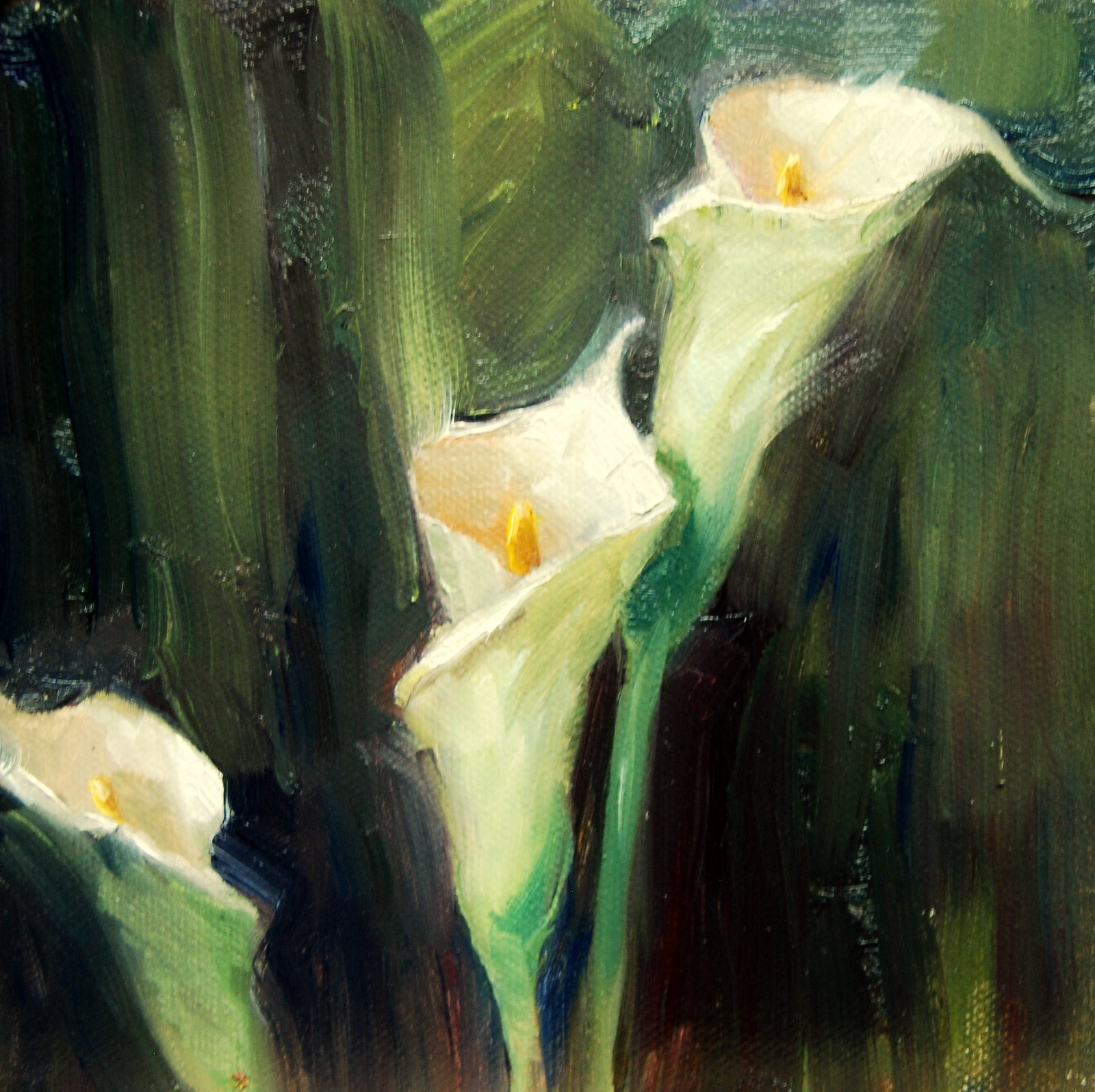 """Calla Lilies -  Study"" original fine art by Julie Ford Oliver"