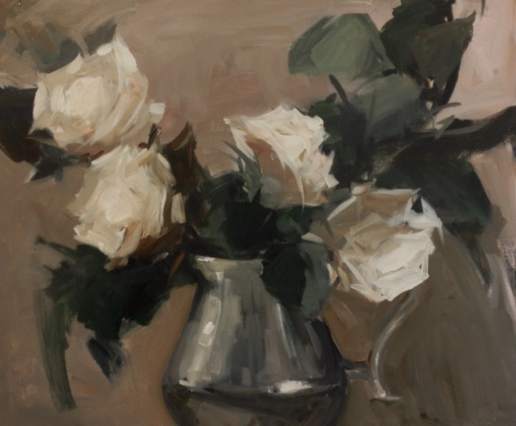 """Pewter jog and silver roses"" original fine art by Parastoo Ganjei"