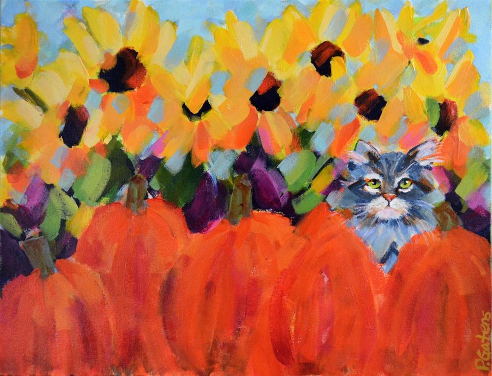 """Pumpkin Puss"" original fine art by Pamela Gatens"