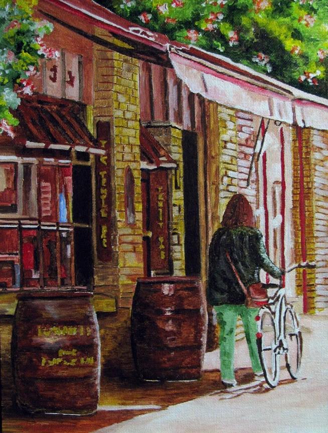"""""""Green Pants"""" original fine art by Nan Johnson"""