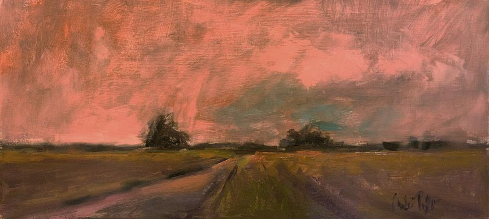 """Landscape with Pink Sky"" original fine art by Andre Pallat"