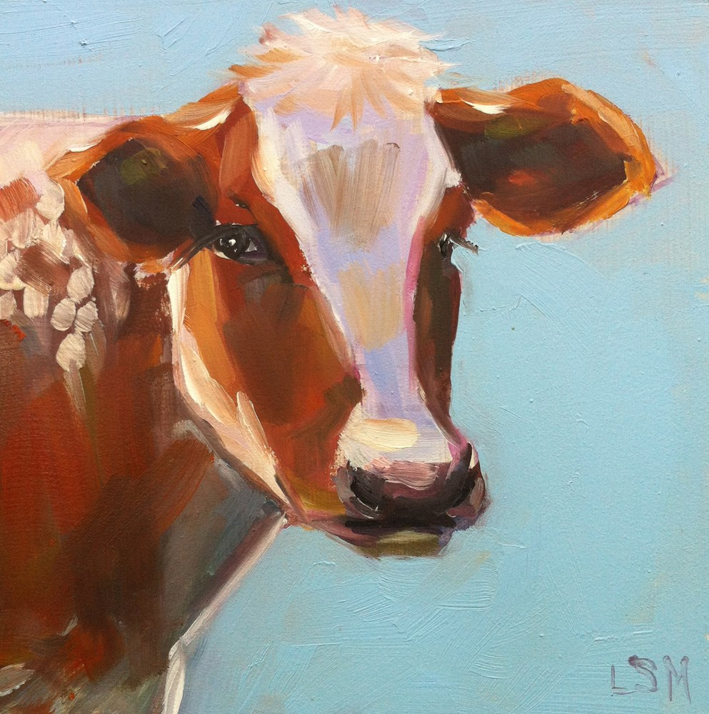 """Small Blue Cow"" original fine art by Linda Marino"