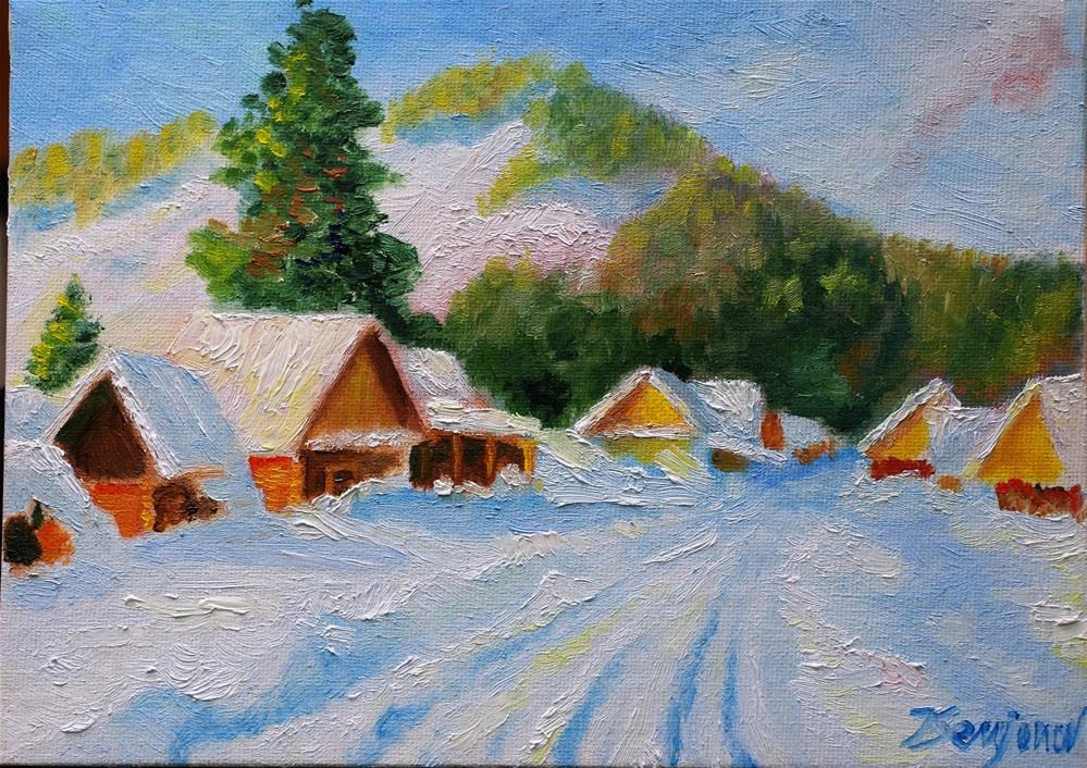 """sunny winter day"" original fine art by Yuriy Semyonov"
