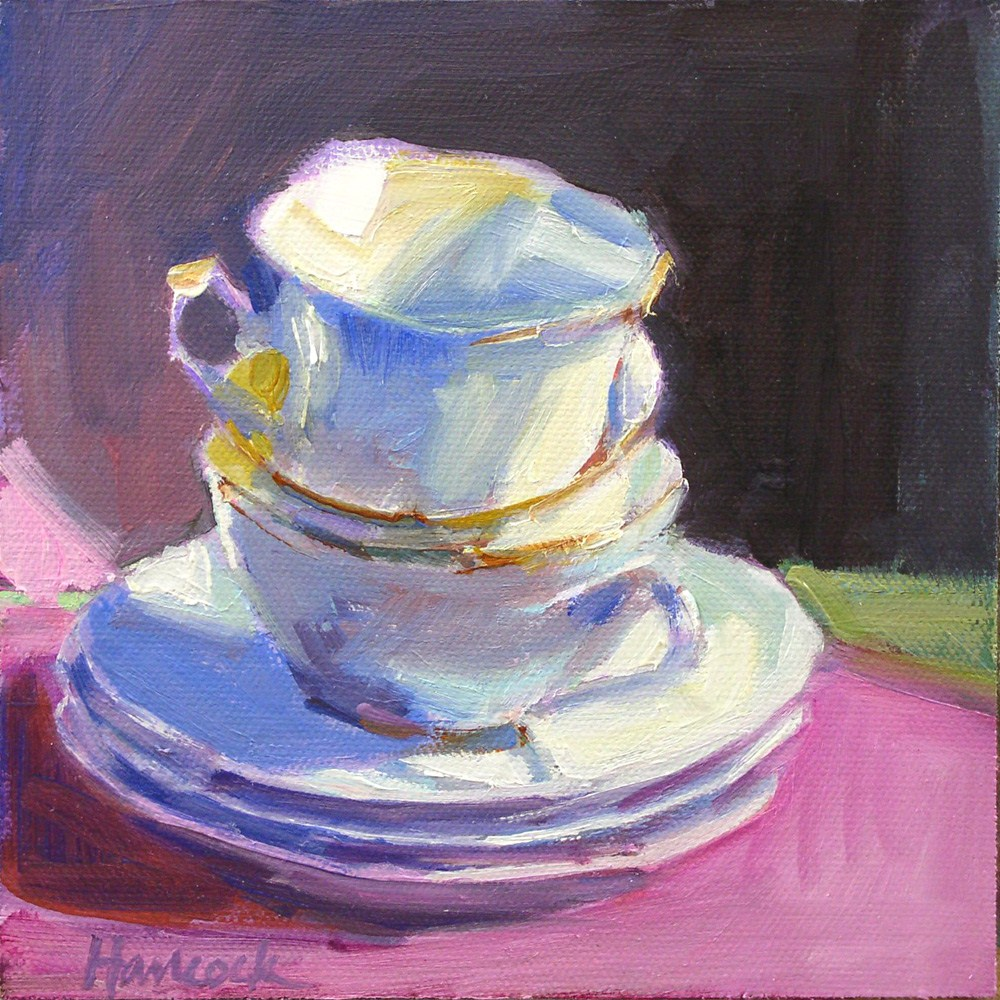 """White and Pink and Blue and Lavender Cup Stack"" original fine art by Gretchen Hancock"