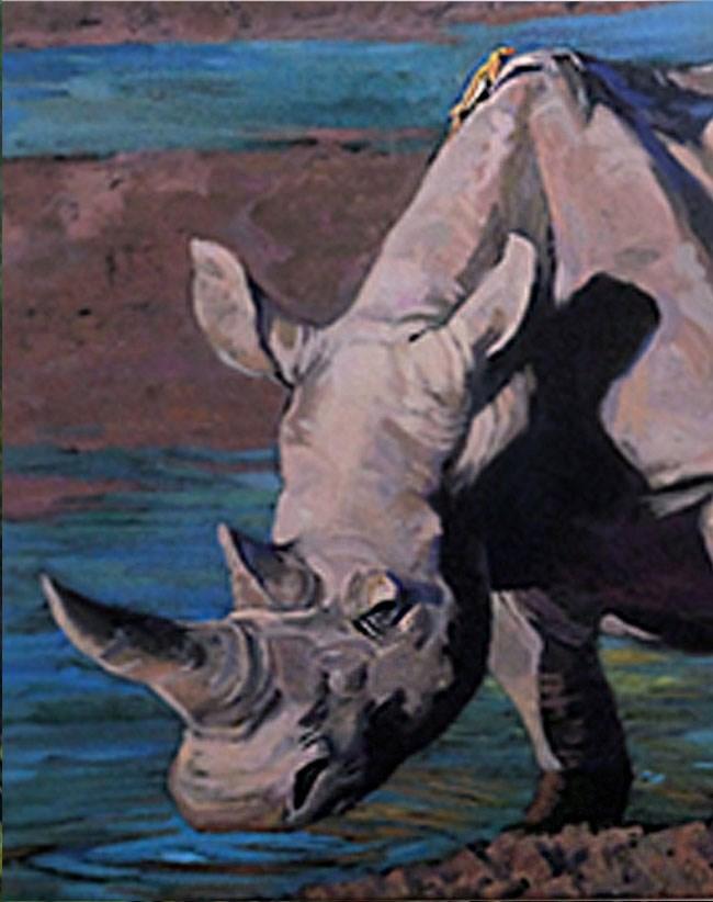 """""""Rhino Refreshed"""" original fine art by Shawn Shea"""