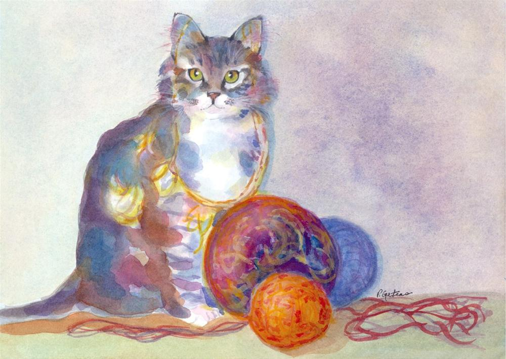 """Purling Puss"" original fine art by Pamela Gatens"