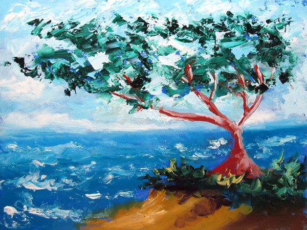 """Mark Webster - Cypress Tree Ocean Seascape Oil Painting 2013-02-22"" original fine art by Mark Webster"