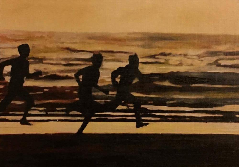 """The Sunset Race"" original fine art by John Cameron"