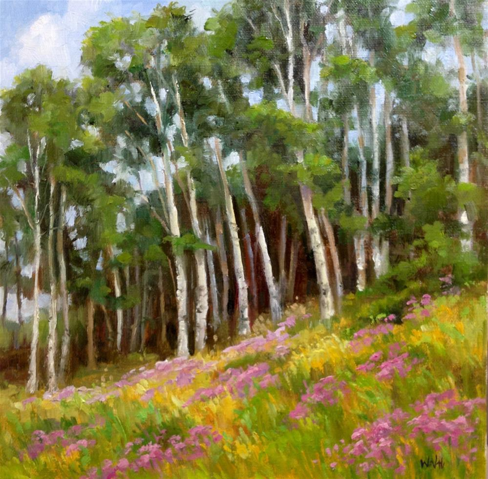 """Aspens and Asters"" original fine art by Nancy Wahl"