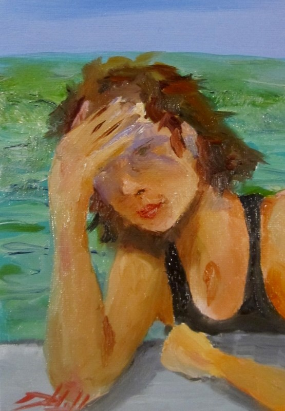 """Pool Side"" original fine art by Delilah Smith"
