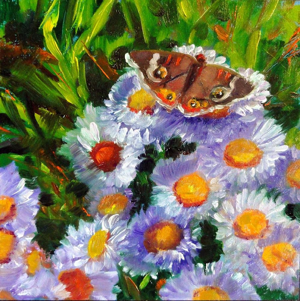 """Asters and Butterfly"" original fine art by Cietha Wilson"