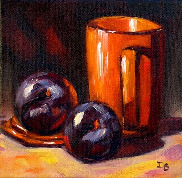 """Two plums"" original fine art by Irina Beskina"