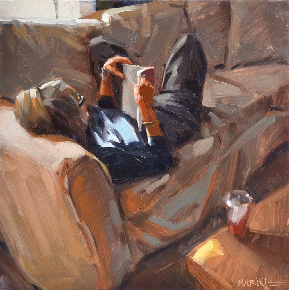 """Pam Reading"" original fine art by Carol Marine"