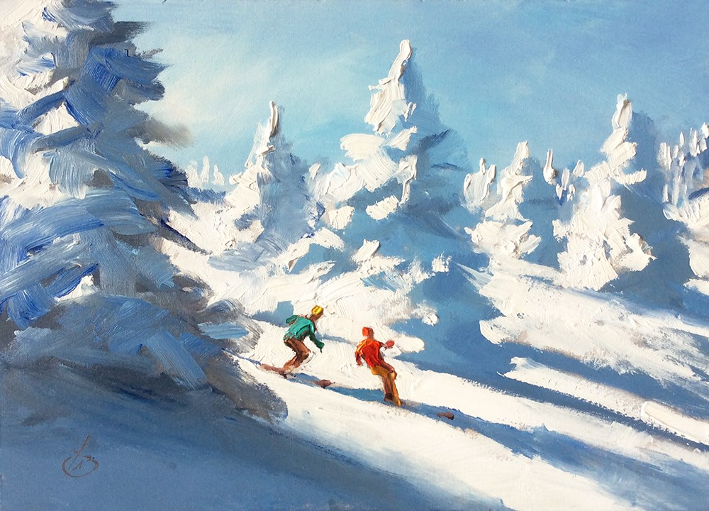 """DOWNHILL SKIERS"" original fine art by Tom Brown"