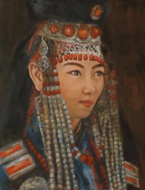 """""""Mongolian girl,J1"""" original fine art by Run-      Zhang Zane"""