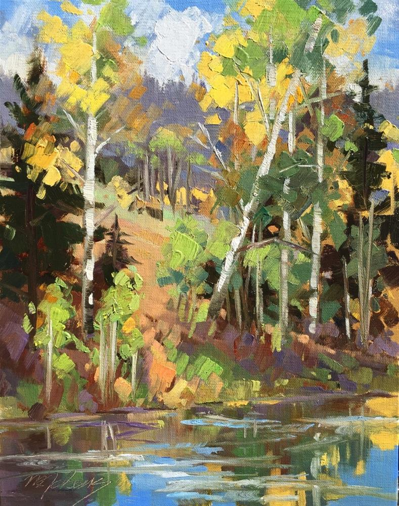 """Kid's Pond - Fall"" original fine art by Mary Jabens"