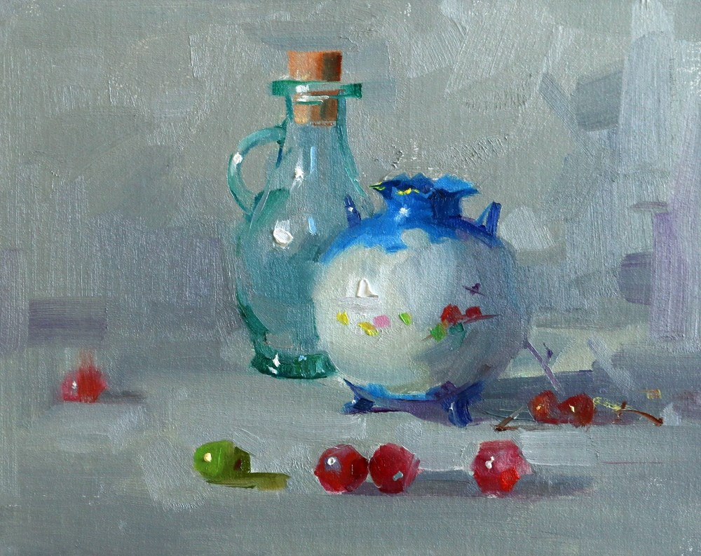 """The Blue Vase"" original fine art by Qiang Huang"