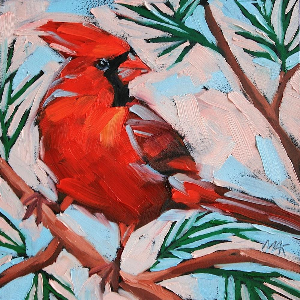 """New Year Cardinal"" original fine art by Mary Anne Cary"