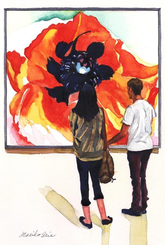 """Poppy & a couple"" original fine art by Mariko Irie"