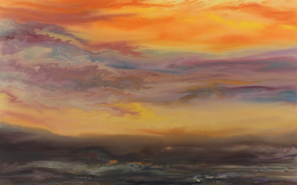"""Contemporary Landscape,Sunset  Painting ""Sunset Reflections"" by Colorado Contemporary Artist Kimberl"" original fine art by Kimberly Conrad"