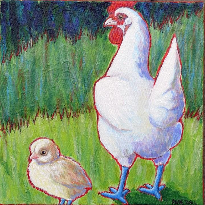 """Maman et Bebe Bresse"" original fine art by Ande Hall"