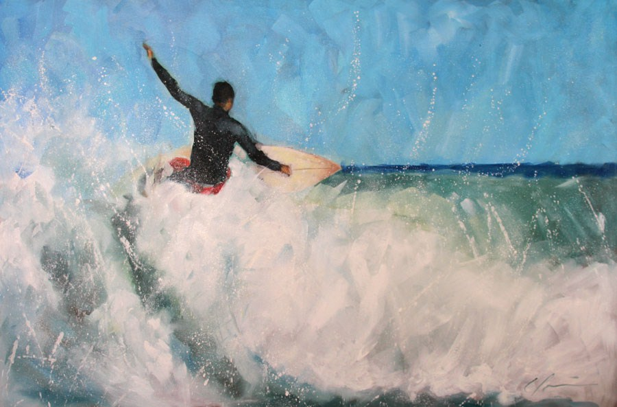 """Winter Surfer"" original fine art by Clair Hartmann"